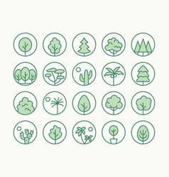 trees plants green line icon vector image