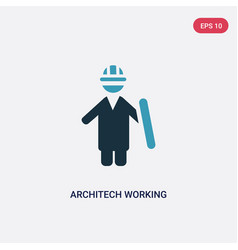 Two color architech working icon from people vector