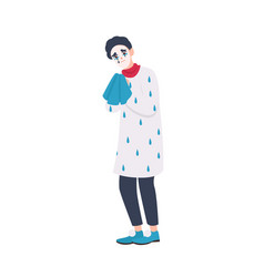 unhappy mime in beret holding handkerchief and vector image