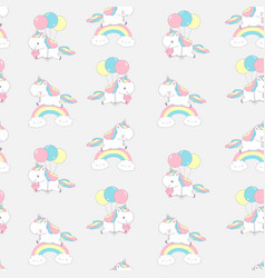 unicorn rainbow cool dream seamless pattern vector image