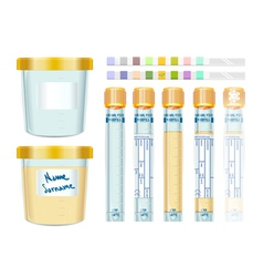Urinalysis Yellow Cap Tubes Set empty filled vector image
