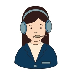 woman callcenter headphones icon vector image