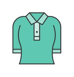 woman polo shirt filled color outline editable vector image