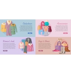 Woman s Clothing Bags and Accessories Banners Set vector image