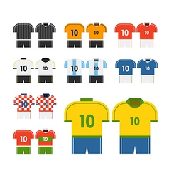 World soccer team t-shirts clip-art vector image