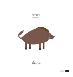 Boar in cartoon style on white background vector image