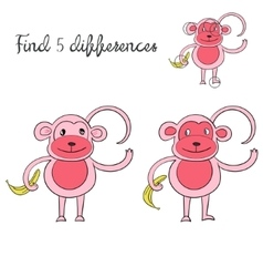 Find differences kids layout for game monkey vector