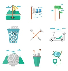 Flat colored icons for golf vector image