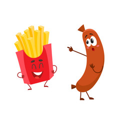 funny smiling sausage and french fries characters vector image