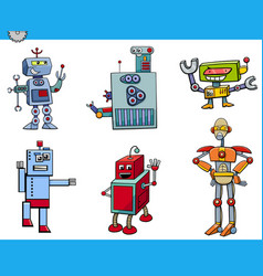 robot cartoon characters set vector image vector image