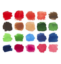 Set of bright multicolored watercolor stains vector