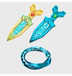 Two fantasy sword with runes and magical bracelet vector image