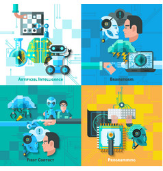 Artificial Intelligence Concept Icons Set vector image vector image