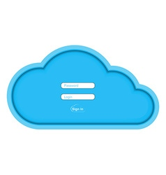 blue paper cloud with fields for entering the vector image