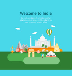 cartoon symbol of india background tourism concept vector image