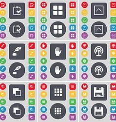 Survey Apps Arrow up Inkpot Hand Wi-Fi Copy Floppy vector image vector image