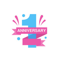 1st anniversary colored logo design happy holiday vector image