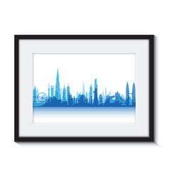 blue cityscape boarder vector image vector image
