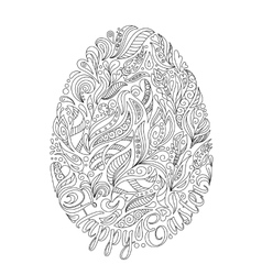 Easter egg with pattern in zentangle style vector image vector image