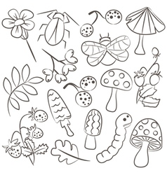 Floral and animal doodle icon set vector image vector image