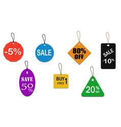 seven color price tags vector image vector image