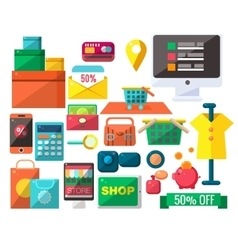 Shopping Related Objects Set vector image