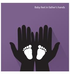 Baby feet in mother s hands vector