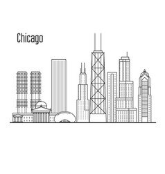 chicago skyline - downtown cityscape vector image vector image