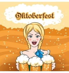 Girl with Beer Mugs Emblem vector image vector image