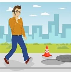 Man walking into open manhole vector image vector image