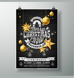 merry christmas party design with holiday vector image vector image