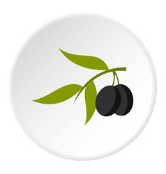 olive icon circle vector image vector image
