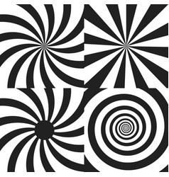 set of psychedelic spiral with radial rays twirl vector image vector image