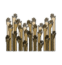 several arms hands gesture set collection on color vector image