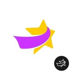 Star man figure with ribbon logo vector image