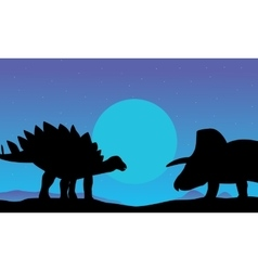 stegosaurus and triceratops scenery of silhouettes vector image vector image