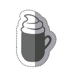 sticker monochrome silhouette mug of cappuccino vector image vector image
