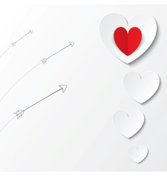 White paper hearts Valentines day card with arrows vector image vector image