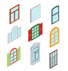Windows set isometric view vector
