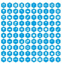 100 moon icons set blue vector