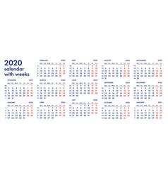 2020 calendar grid with weeks vector
