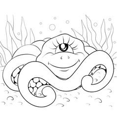a children coloring bookpage a cartoon octopus vector image