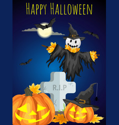 a halloween scarecrows with happy halloween text vector image