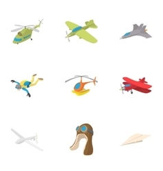 Air transport icons set cartoon style vector image