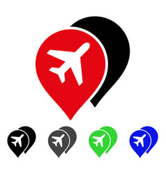Airport markers flat icon vector