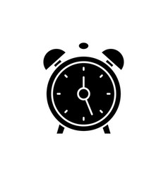 alarm clock black icon sign on isolated vector image