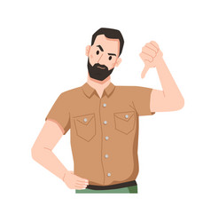 annoyed bearded man showing disapproval thumb down vector image