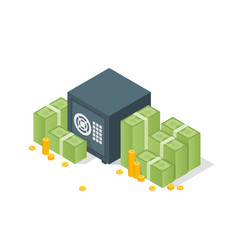 Bank safe with money dollar stacks safe open vector