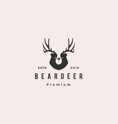 bear deer logo hipster retro vintage for branding vector image