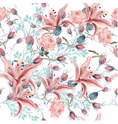 beautiful floral pattern with pink rose and lily vector image